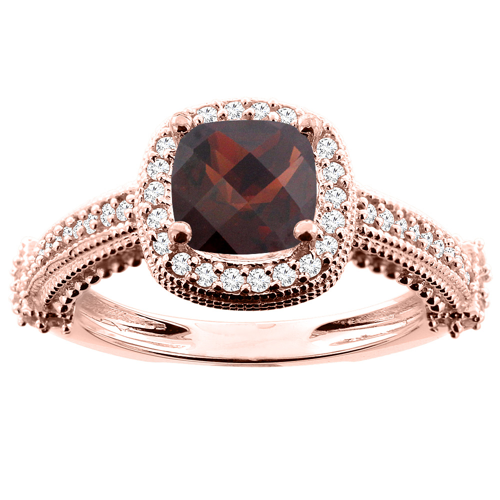 10K White/Yellow/Rose Gold Natural Garnet Ring Cushion 7x7mm Diamond Accent, size 5