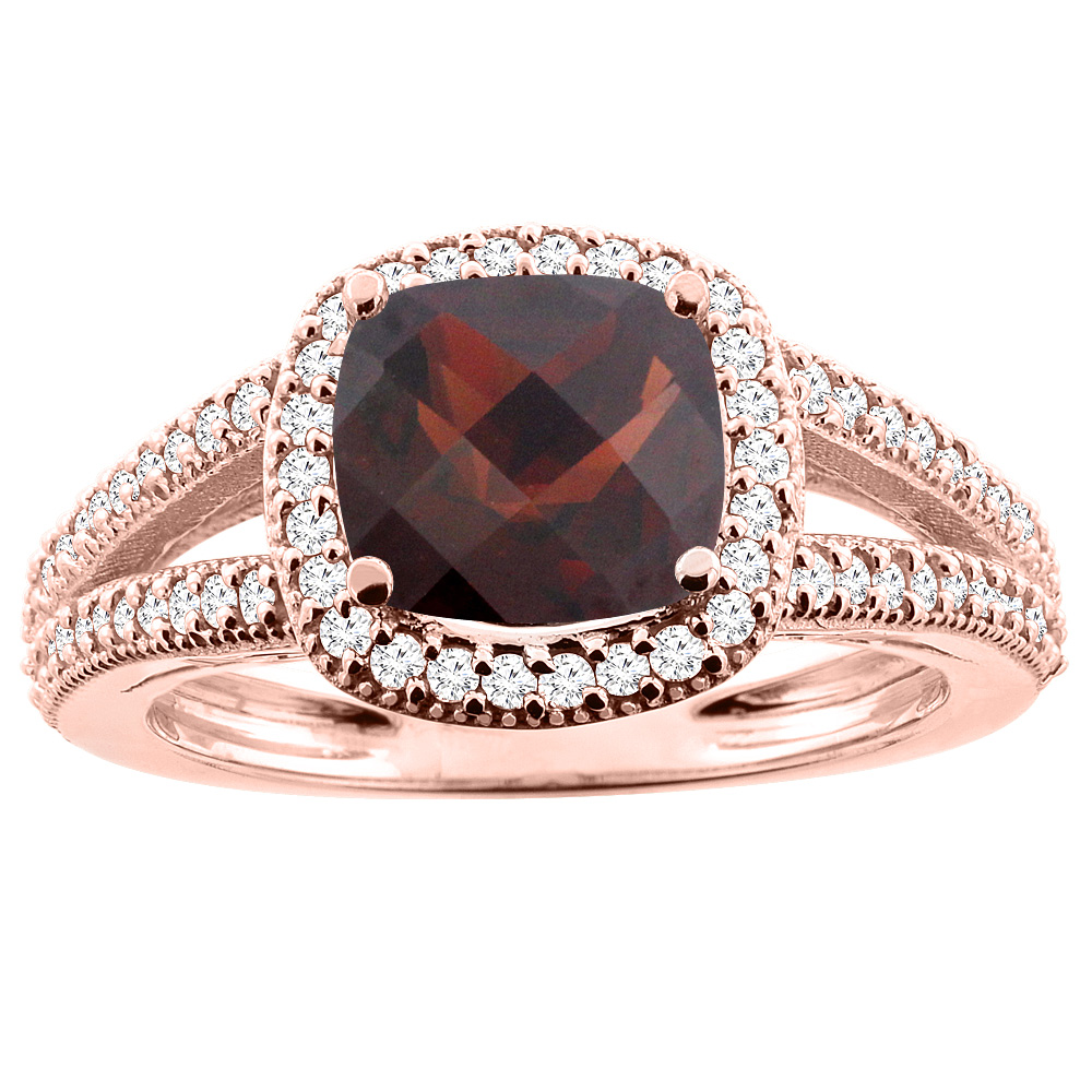 10K Rose Gold Natural Garnet Ring Cushion 7x7mm Diamond Accent 3/8 inch wide, sizes 5 - 10