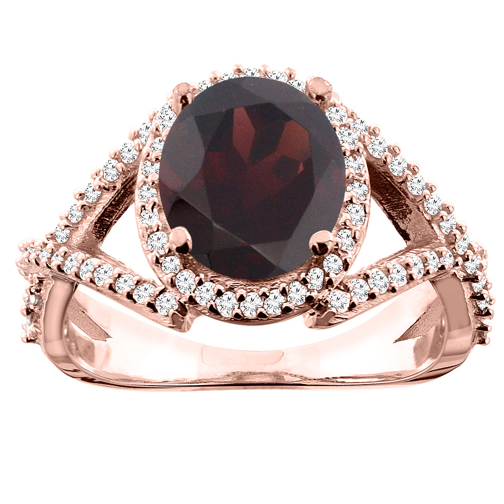 10K White/Yellow/Rose Gold Natural Garnet Ring Oval 9x7mm Diamond Accent, size 5