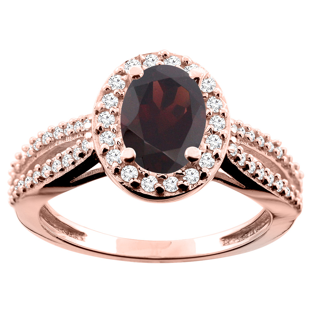10K White/Yellow/Rose Gold Natural Garnet Ring Oval 8x6mm Diamond Accent, size 5
