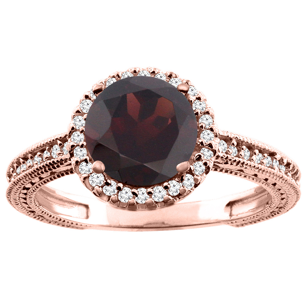 10K White/Yellow/Rose Gold Natural Garnet Ring Round 7mm Diamond Accent, sizes 5 - 10