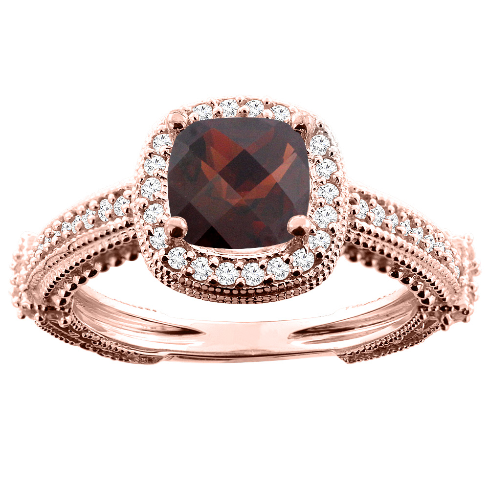 10K White/Yellow/Rose Gold Natural Garnet Ring Cushion 7x7mm Diamond Accent, sizes 5 - 10