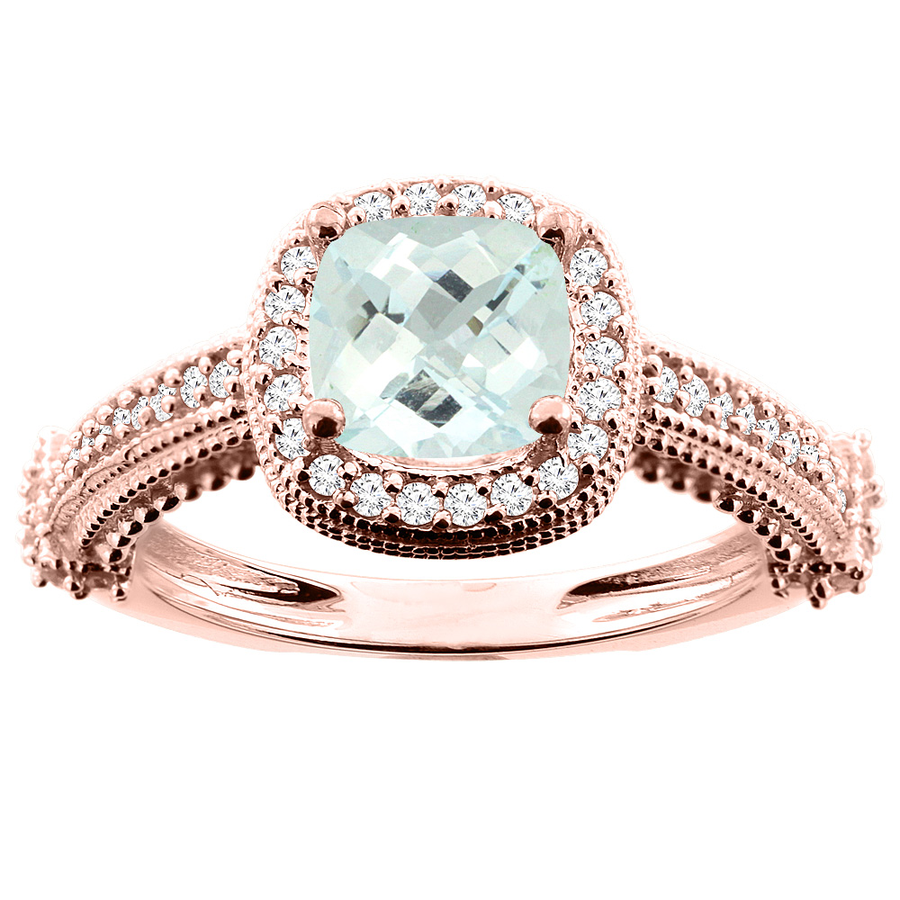 14K White/Yellow/Rose Gold Natural Aquamarine Ring Cushion 7x7mm Diamond Accent 7/16 inch wide, size 5