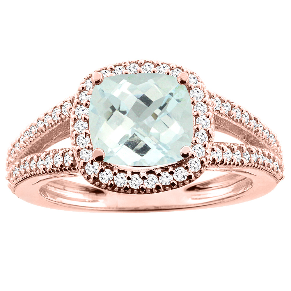 14K Rose Gold Natural Aquamarine Ring Cushion 7x7mm Diamond Accent 3/8 inch wide, sizes 5 - 10