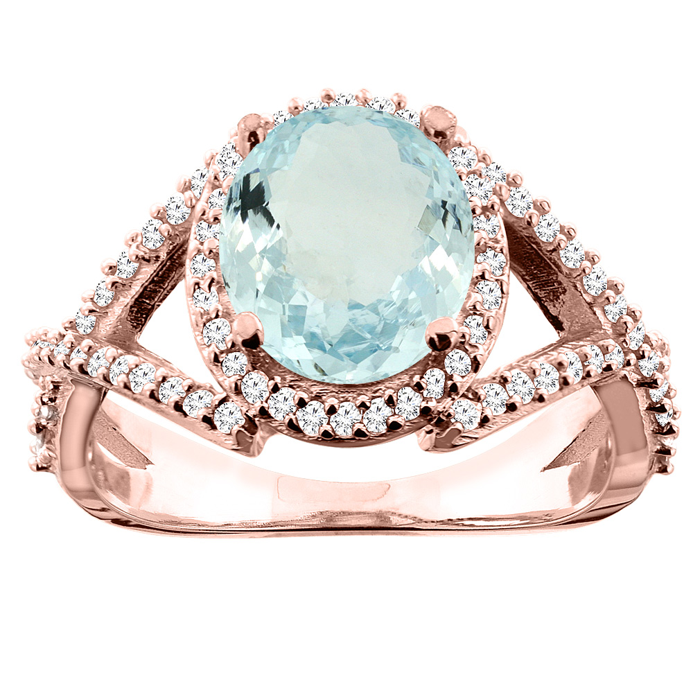 14K White/Yellow/Rose Gold Natural Aquamarine Ring Oval 9x7mm Diamond Accent, size 5
