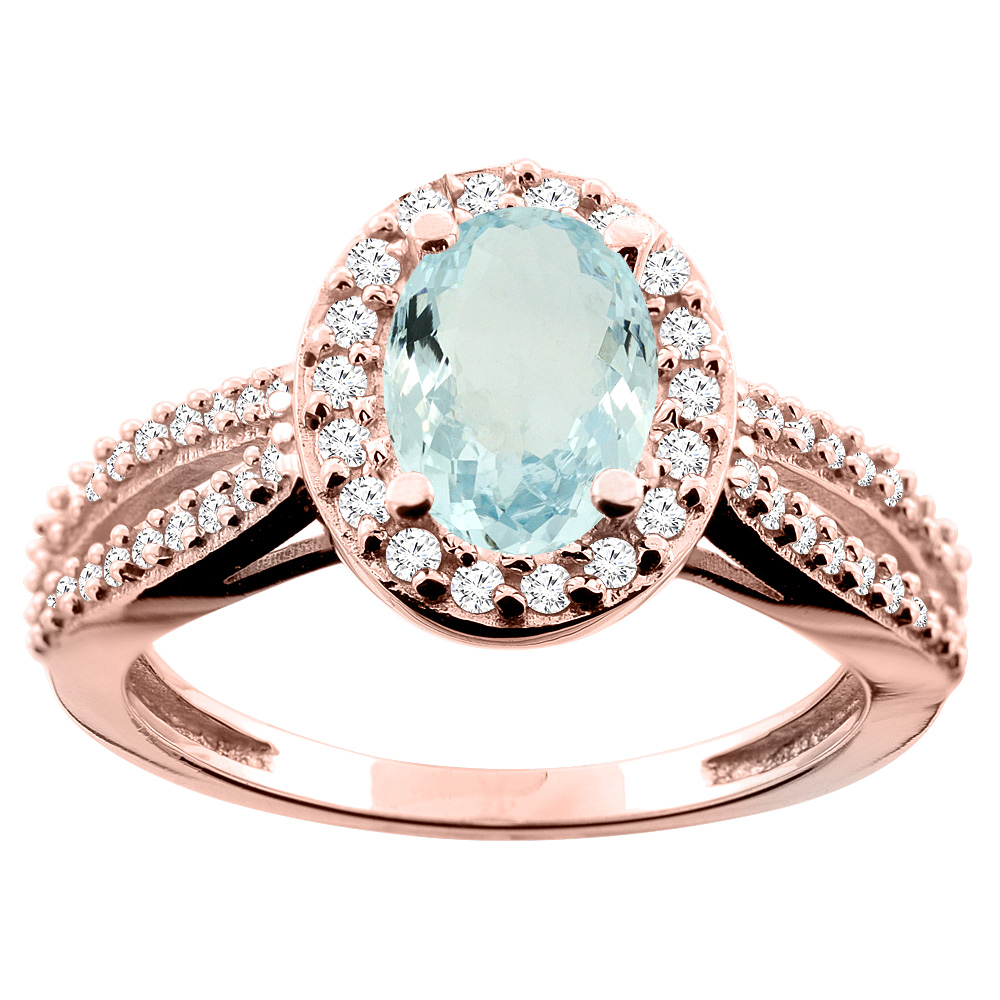 14K White/Yellow/Rose Gold Natural Aquamarine Ring Oval 8x6mm Diamond Accent, size 5