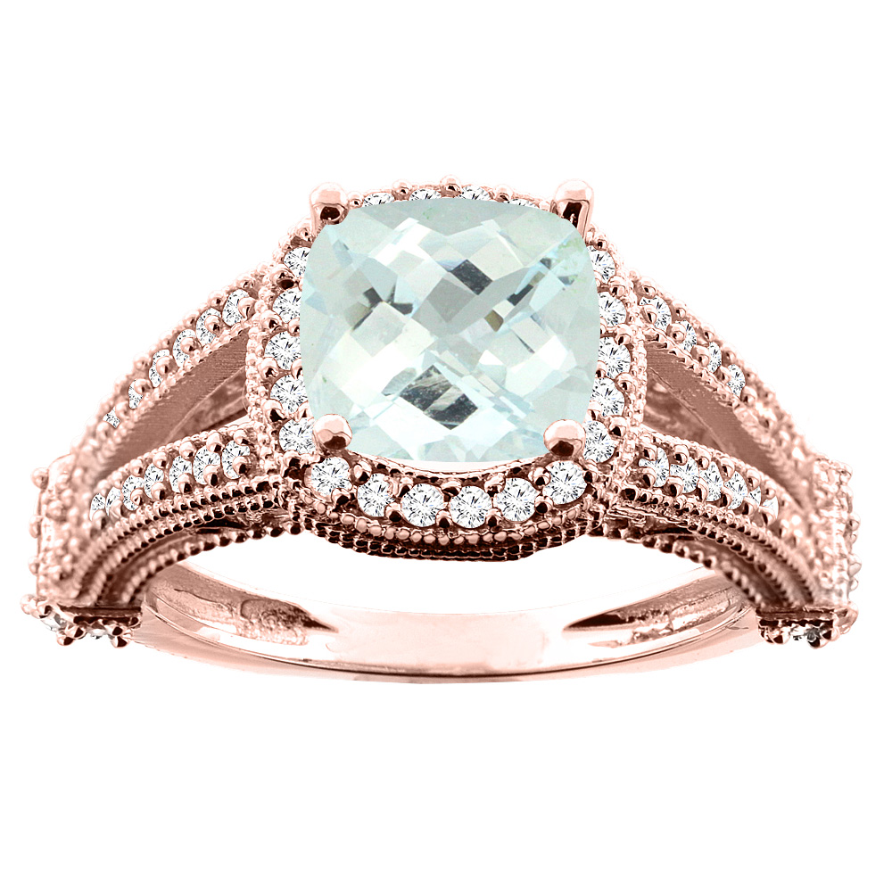 14K White/Yellow/Rose Gold Natural Aquamarine Split Shank Ring Cushion 7x7mm Diamond Accent, sizes 5 - 10