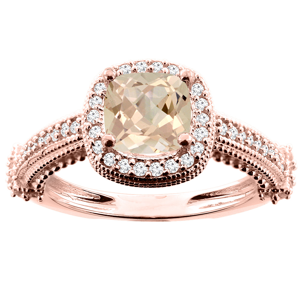 10K White/Yellow/Rose Gold Natural Morganite Ring Cushion 7x7mm Diamond Accent, size 5