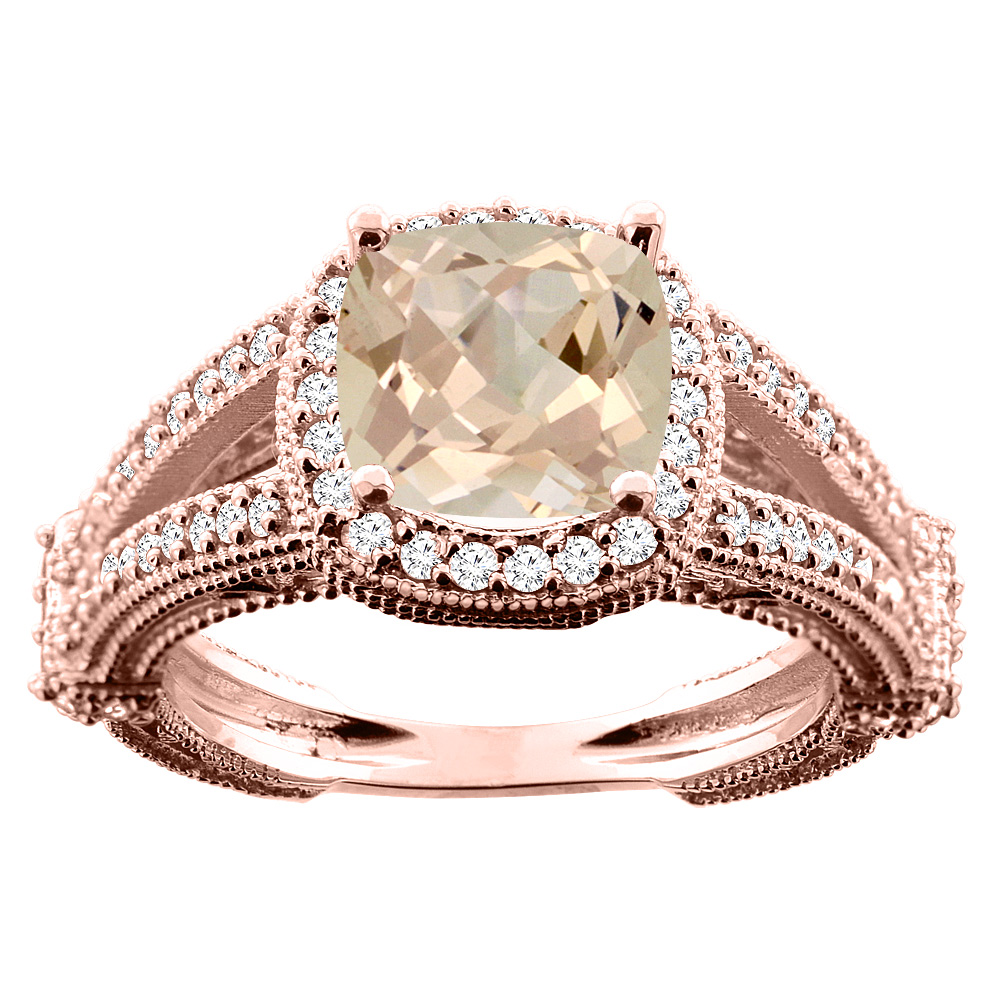 14K White/Yellow/Rose Gold Natural Morganite Cushion 8x8mm Diamond Accent 3/8 inch wide, size 5