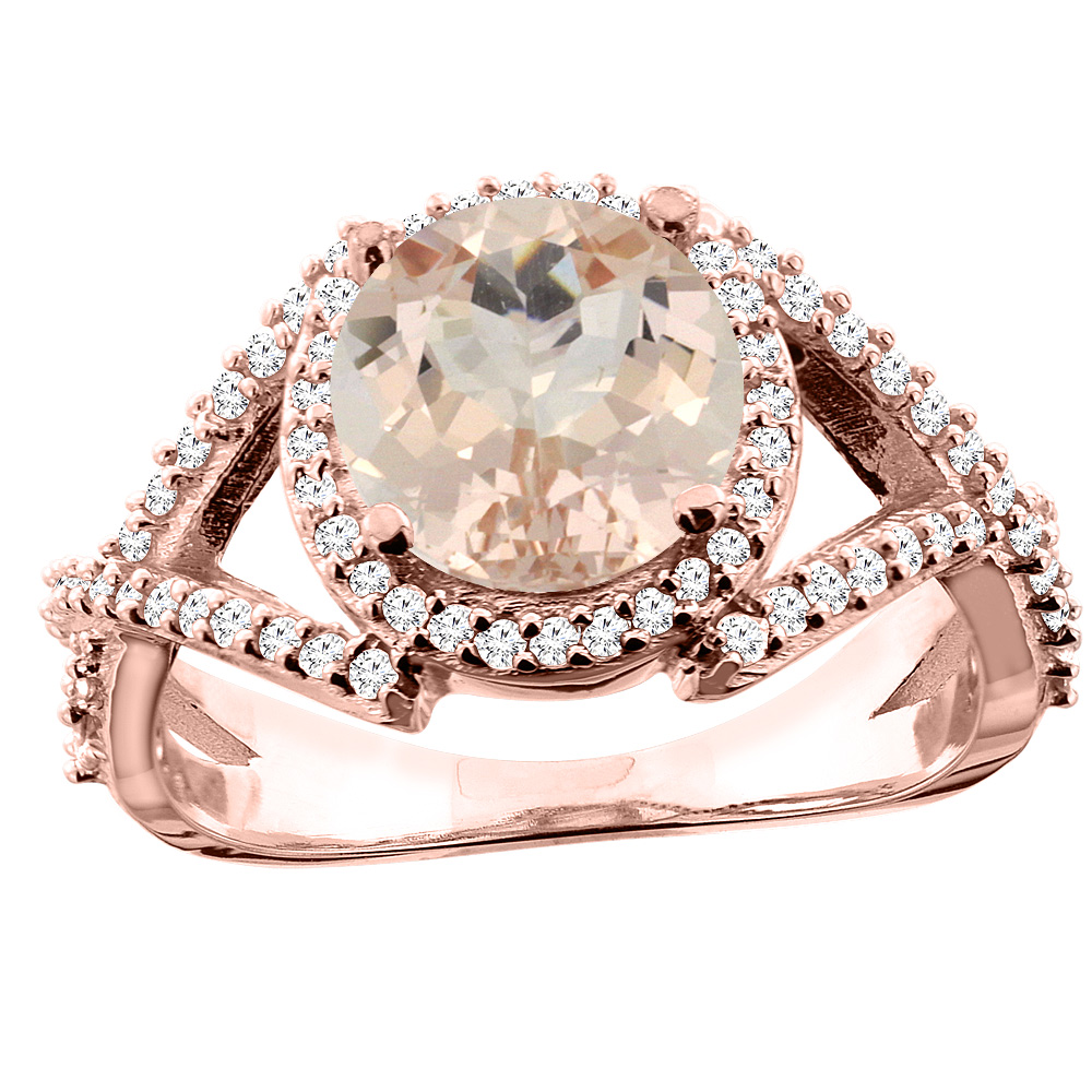 14K White/Yellow/Rose Gold Natural Morganite Ring Round 8mm Diamond Accent, size 5