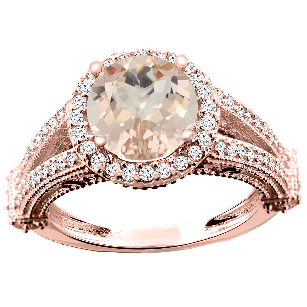 10K White/Yellow/Rose Gold Natural Morganite Ring Round 8mm Diamond Accent, sizes 5 - 10
