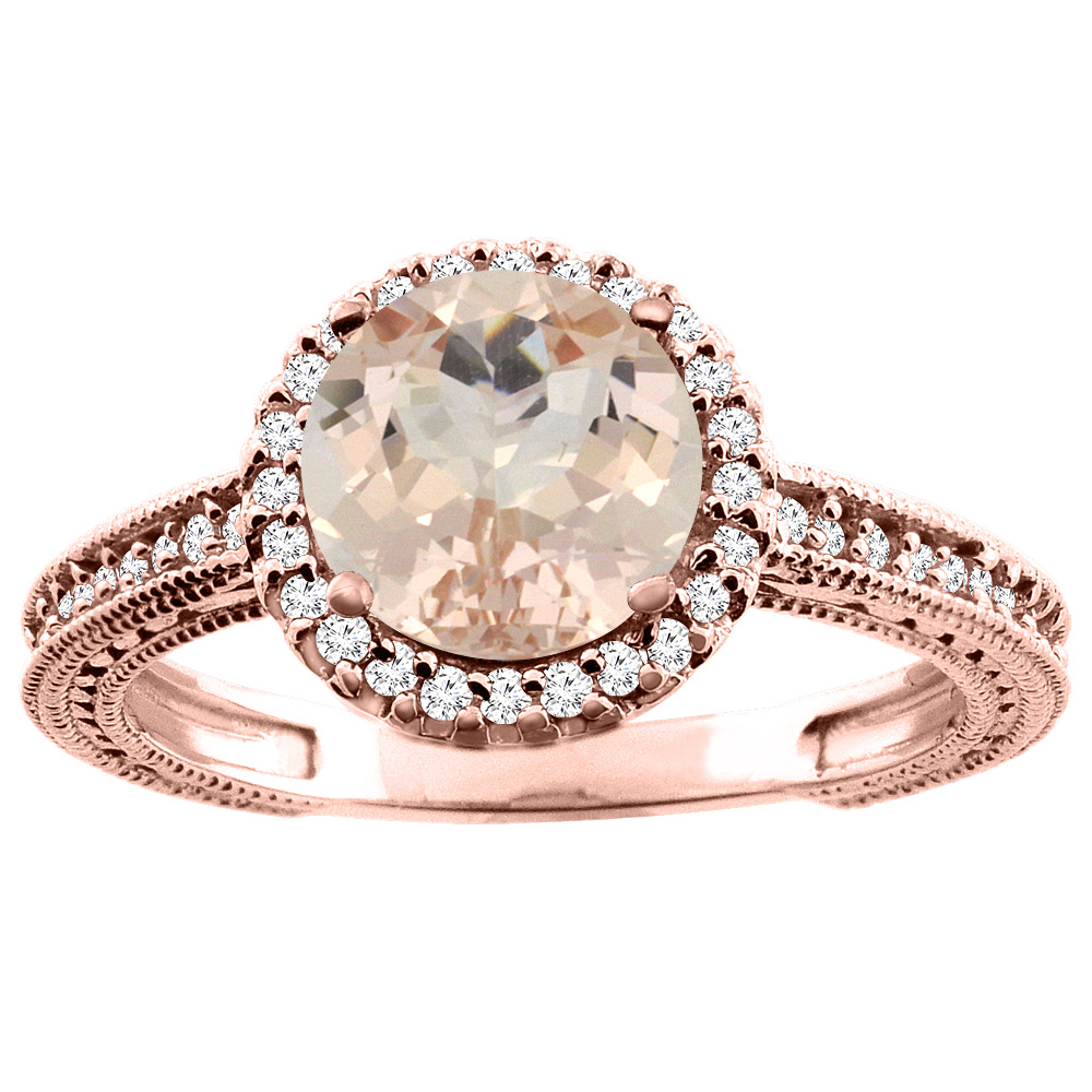 10K White/Yellow/Rose Gold Natural Morganite Ring Round 7mm Diamond Accent, sizes 5 - 10