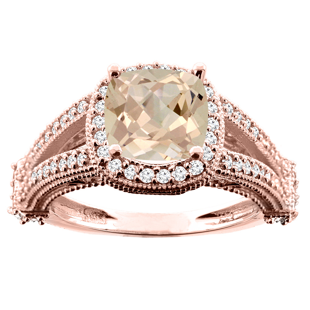 10K White/Yellow/Rose Gold Natural Morganite Split Shank Ring Cushion 7x7mm Diamond Accent, sizes 5 - 10