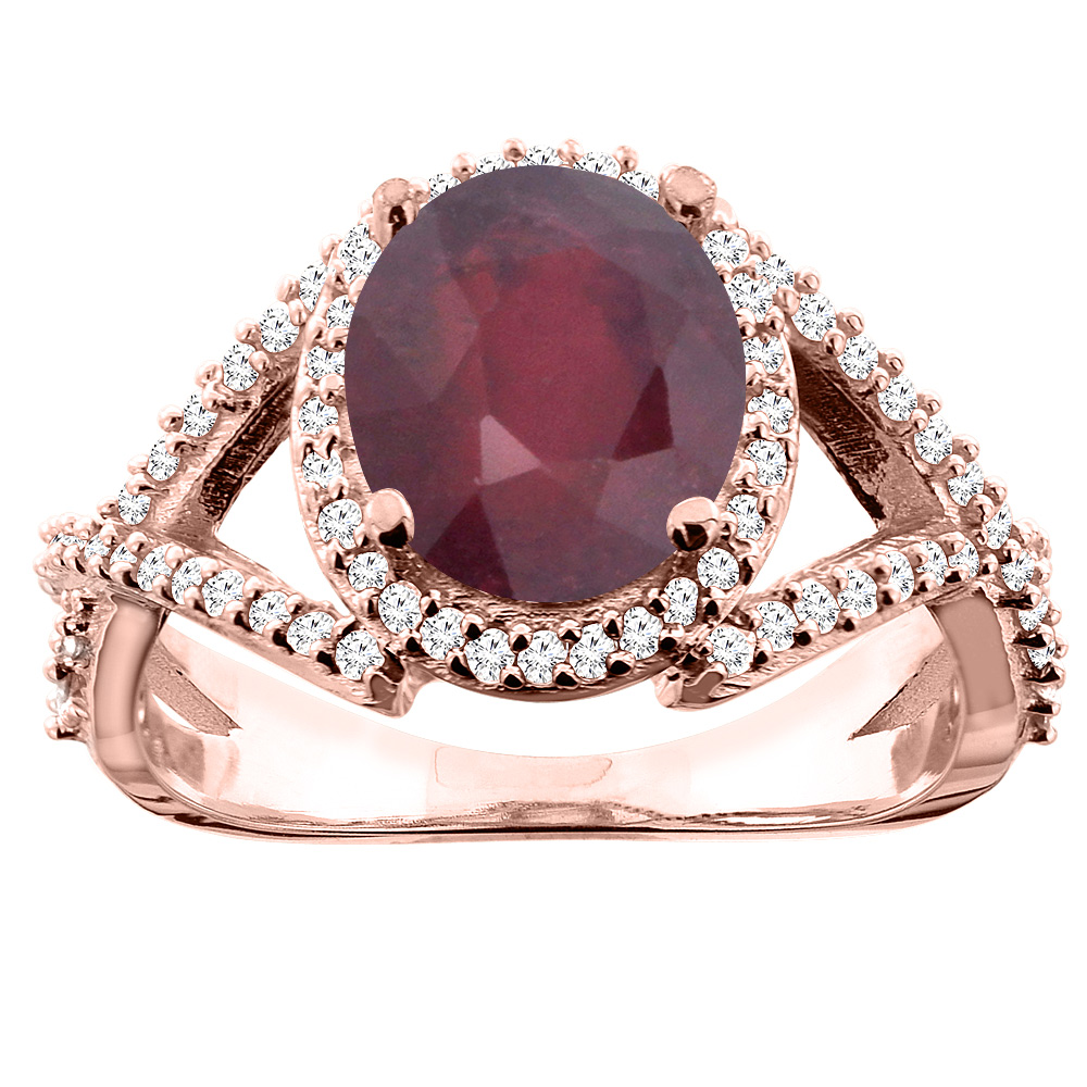 14K White/Yellow/Rose Gold Enhanced Ruby Ring Oval 9x7mm Diamond Accent, size 5
