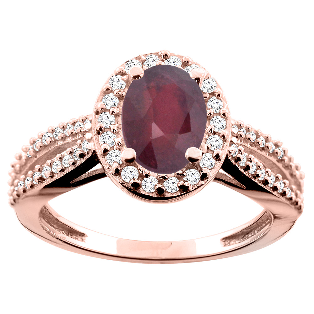 14K White/Yellow/Rose Gold Enhanced Ruby Ring Oval 8x6mm Diamond Accent, size 5