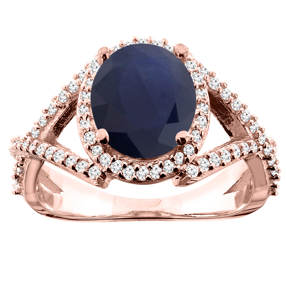 14K White/Yellow/Rose Gold Natural Blue Sapphire Ring Oval 9x7mm Diamond Accent, size 5