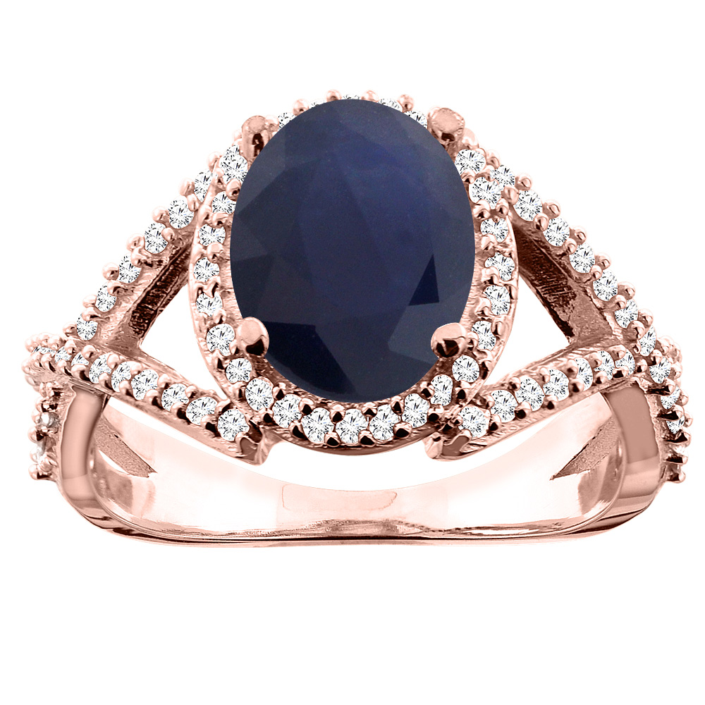 10K White/Yellow/Rose Gold Natural Blue Sapphire Ring Oval 10x8mm Diamond Accent, sizes 5 - 10