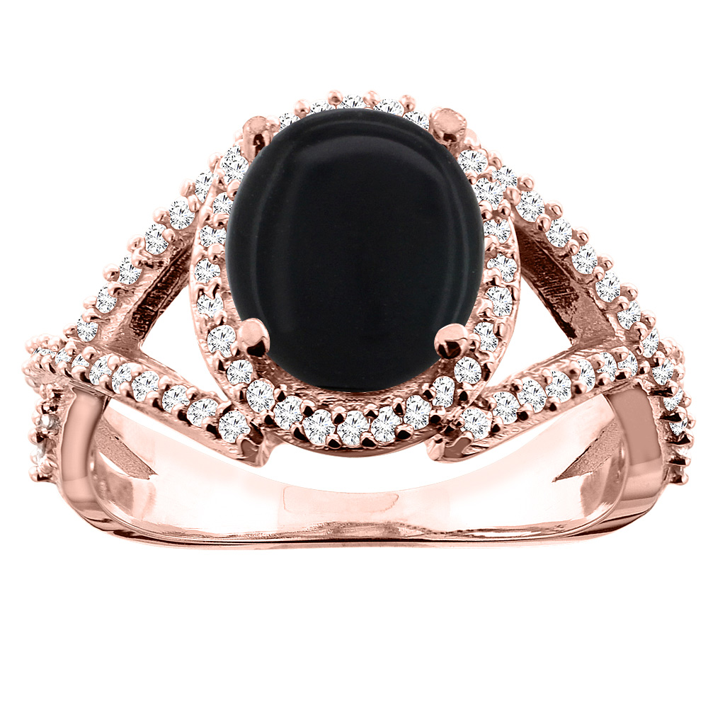 10K White/Yellow/Rose Gold Natural Black Onyx Ring Oval 9x7mm Diamond Accent, size 5