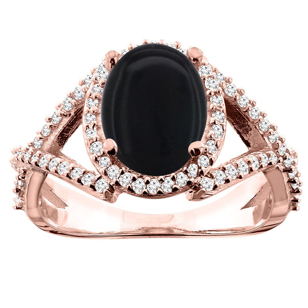 10K White/Yellow/Rose Gold Natural Black Onyx Ring Oval 10x8mm Diamond Accent, sizes 5 - 10