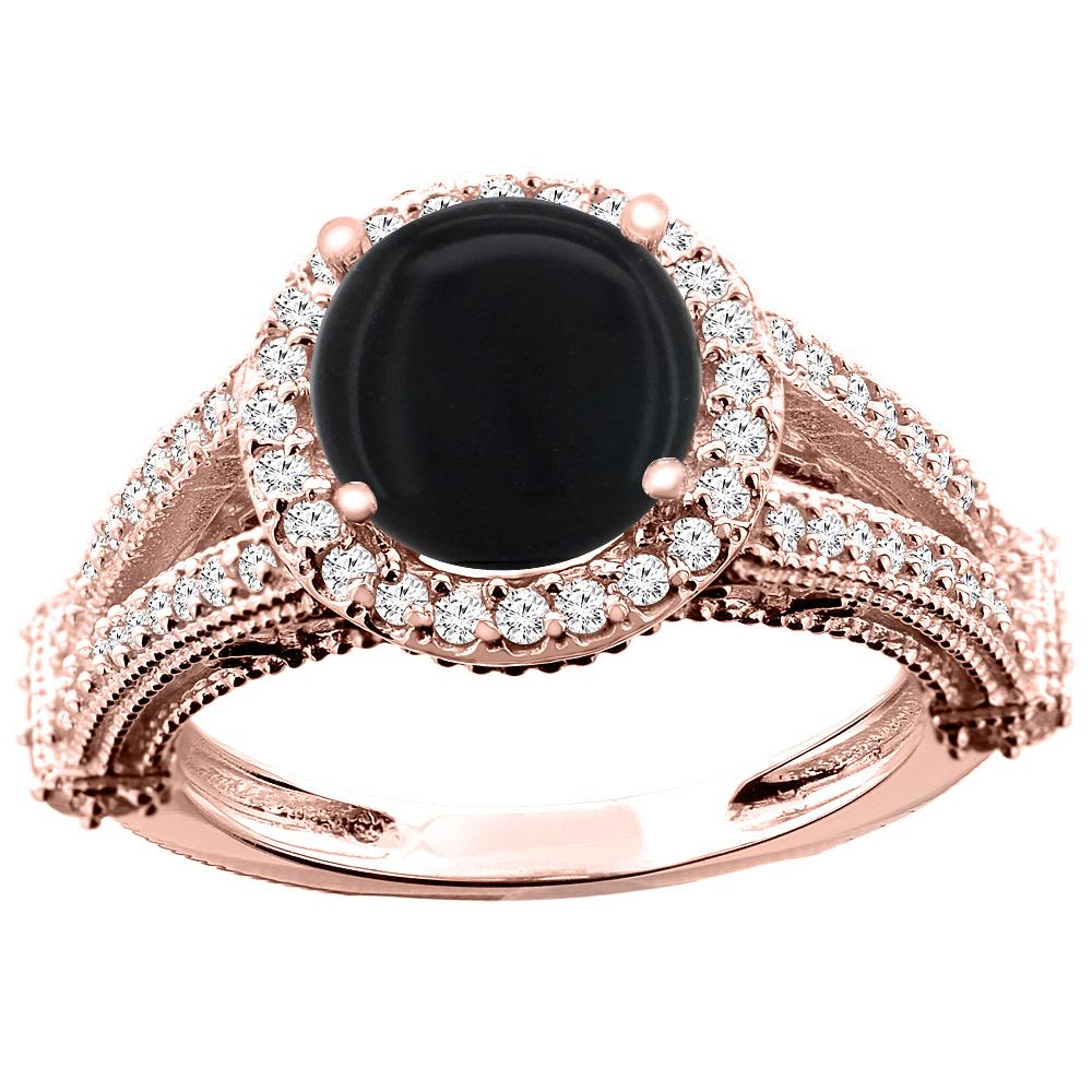 10K White/Yellow/Rose Gold Natural Black Onyx Ring Round 8mm Diamond Accent, sizes 5 - 10