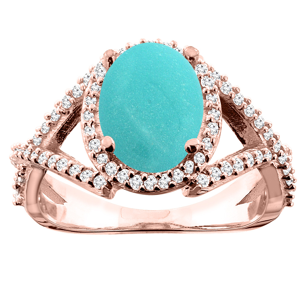 14K White/Yellow/Rose Gold Natural Turquoise Ring Oval 10x8mm Diamond Accent, sizes 5 - 10
