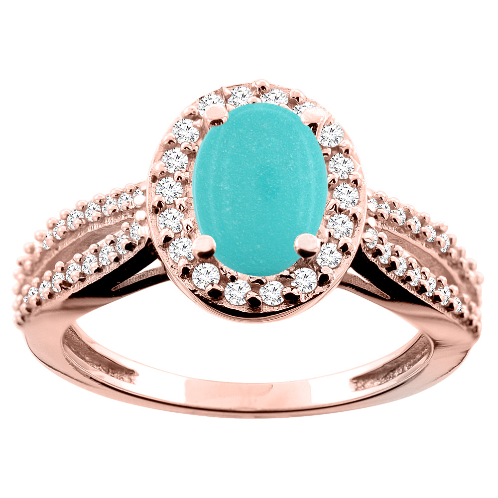 14K White/Yellow/Rose Gold Natural Turquoise Ring Oval 8x6mm Diamond Accent, size 5