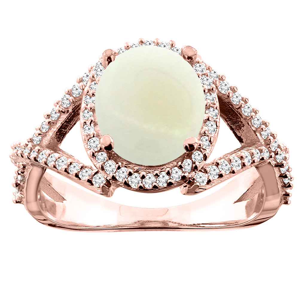 14K White/Yellow/Rose Gold Natural Opal Ring Oval 9x7mm Diamond Accent, size 5