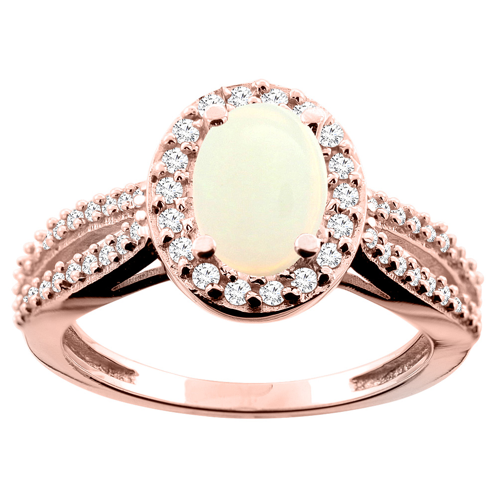 14K White/Yellow/Rose Gold Natural Opal Ring Oval 8x6mm Diamond Accent, size 5