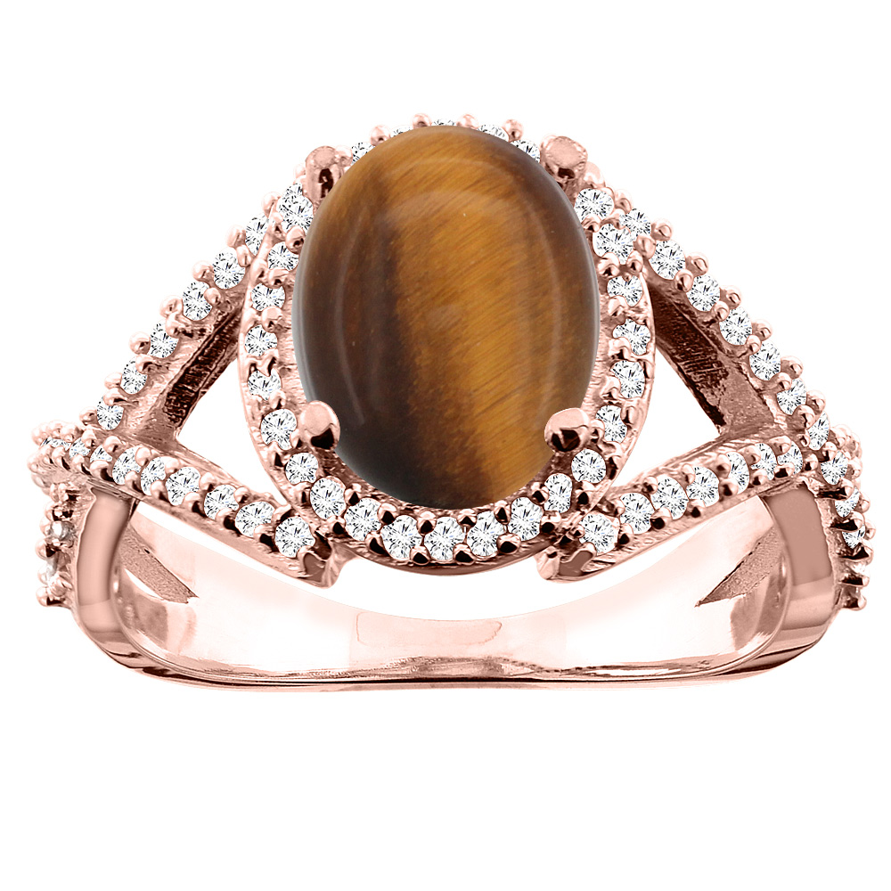 10K White/Yellow/Rose Gold Natural Tiger Eye Ring Oval 10x8mm Diamond Accent, sizes 5 - 10