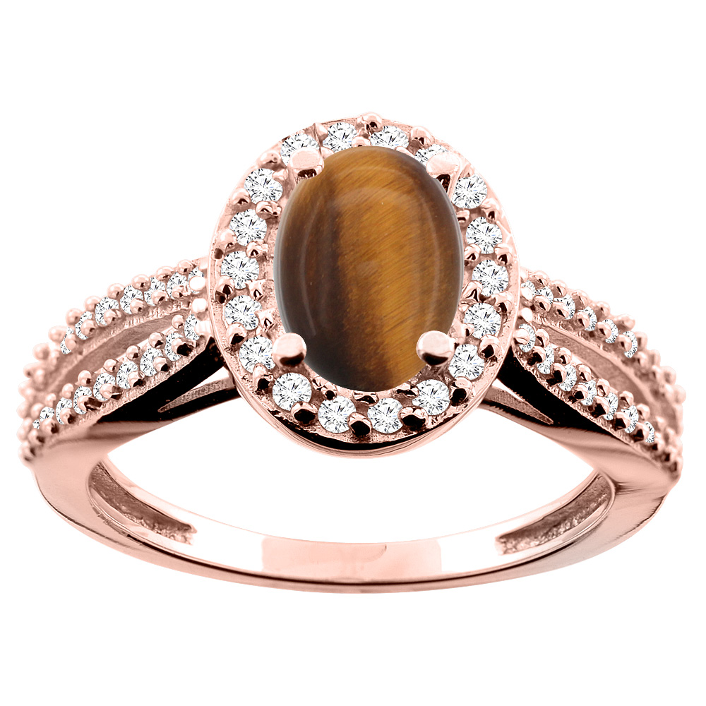 10K White/Yellow/Rose Gold Natural Tiger Eye Ring Oval 8x6mm Diamond Accent, size 5