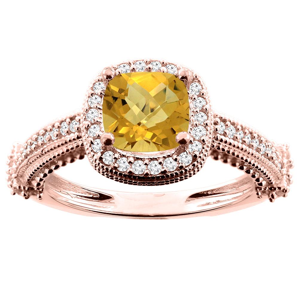 10K White/Yellow/Rose Gold Natural Whisky Quartz Ring Cushion 7x7mm Diamond Accent, size 5