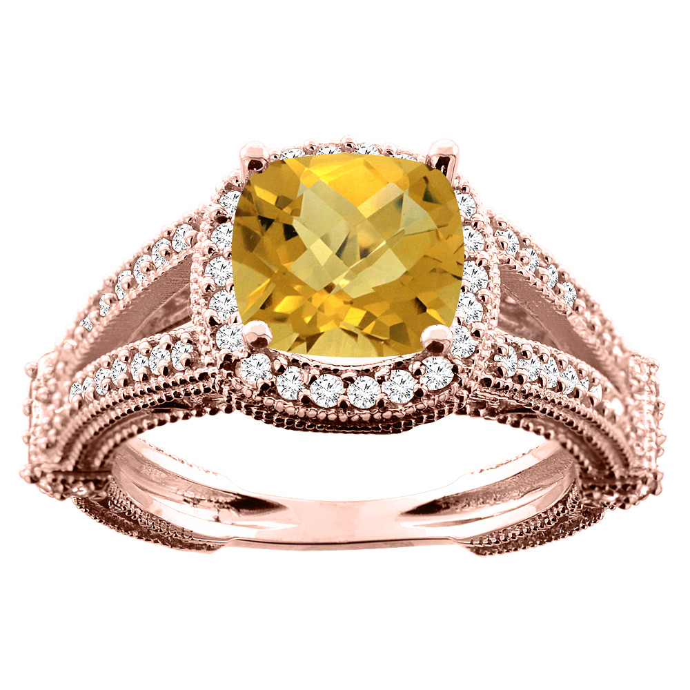 10K White/Yellow/Rose Gold Natural Whisky Quartz Cushion 8x8mm Diamond Accent 3/8 inch wide, size 5