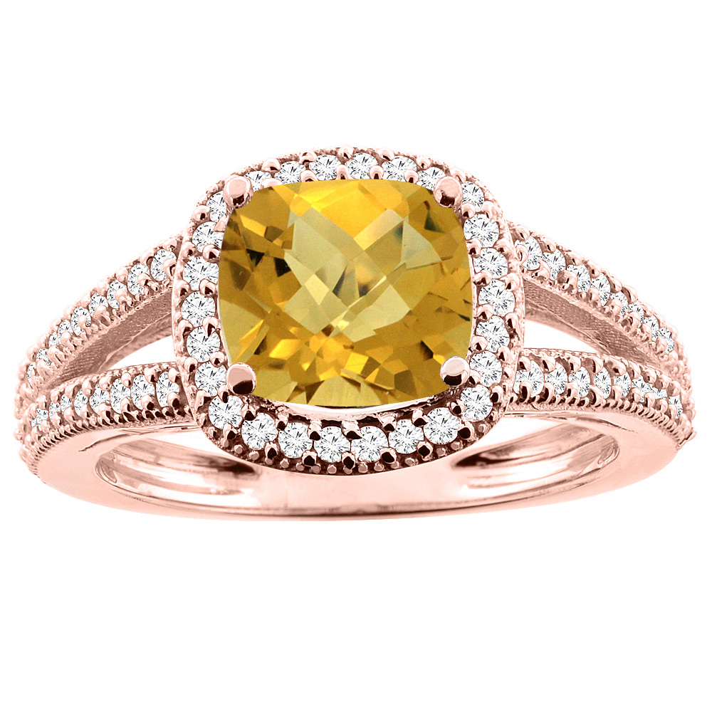 10K Rose Gold Natural Whisky Quartz Ring Cushion 7x7mm Diamond Accent 3/8 inch wide, sizes 5 - 10