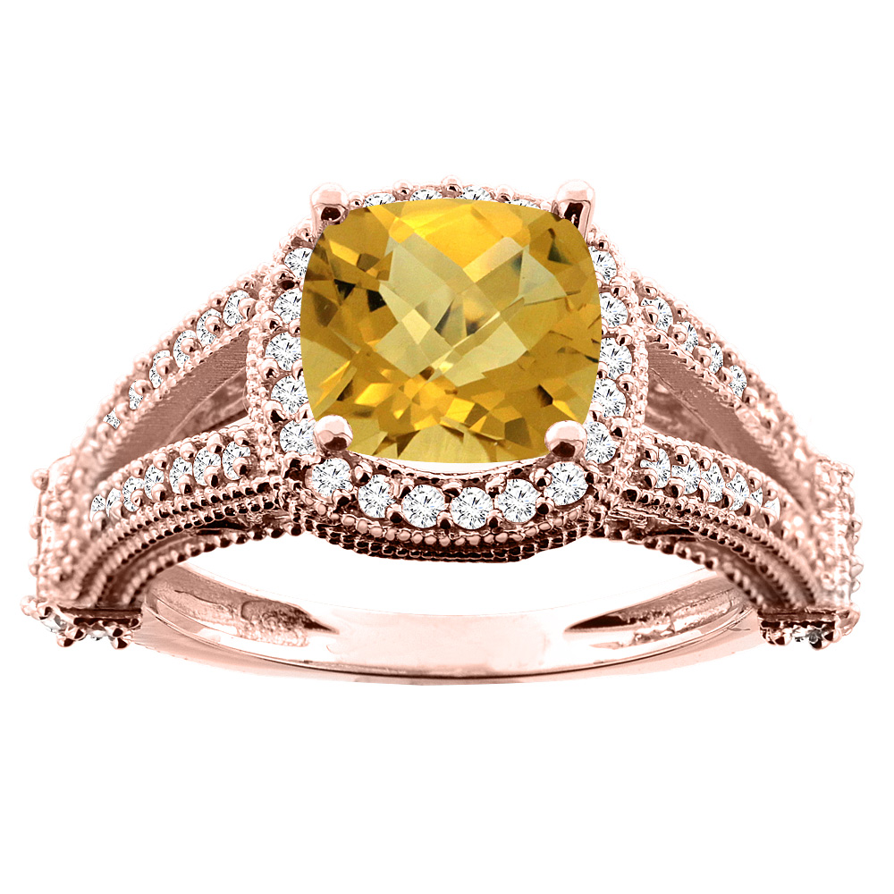 10K White/Yellow/Rose Gold Natural Whisky Quartz Split Shank Ring Cushion 7x7mm Diamond Accent, sizes 5 - 10