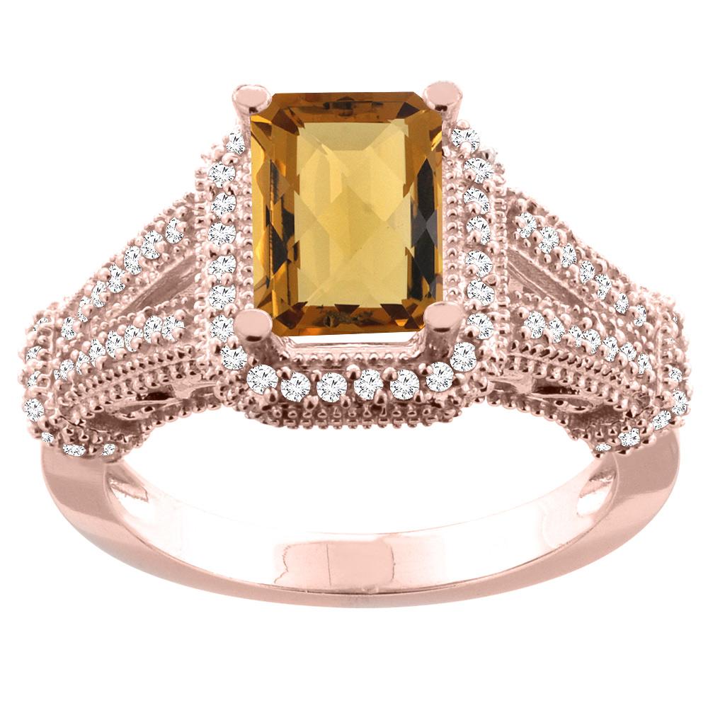 10K White/Yellow/Rose Gold Natural Whisky Quartz Ring Octagon 8x6mm Diamond Accent, sizes 5-10