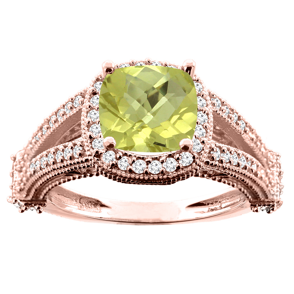 14K White/Yellow/Rose Gold Natural Lemon Quartz Split Shank Ring Cushion 7x7mm Diamond Accent, sizes 5 - 10