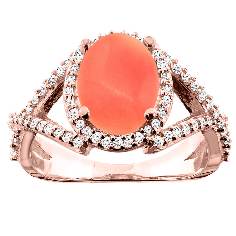 14K White/Yellow/Rose Gold Natural Coral Ring Oval 10x8mm Diamond Accent, sizes 5 - 10