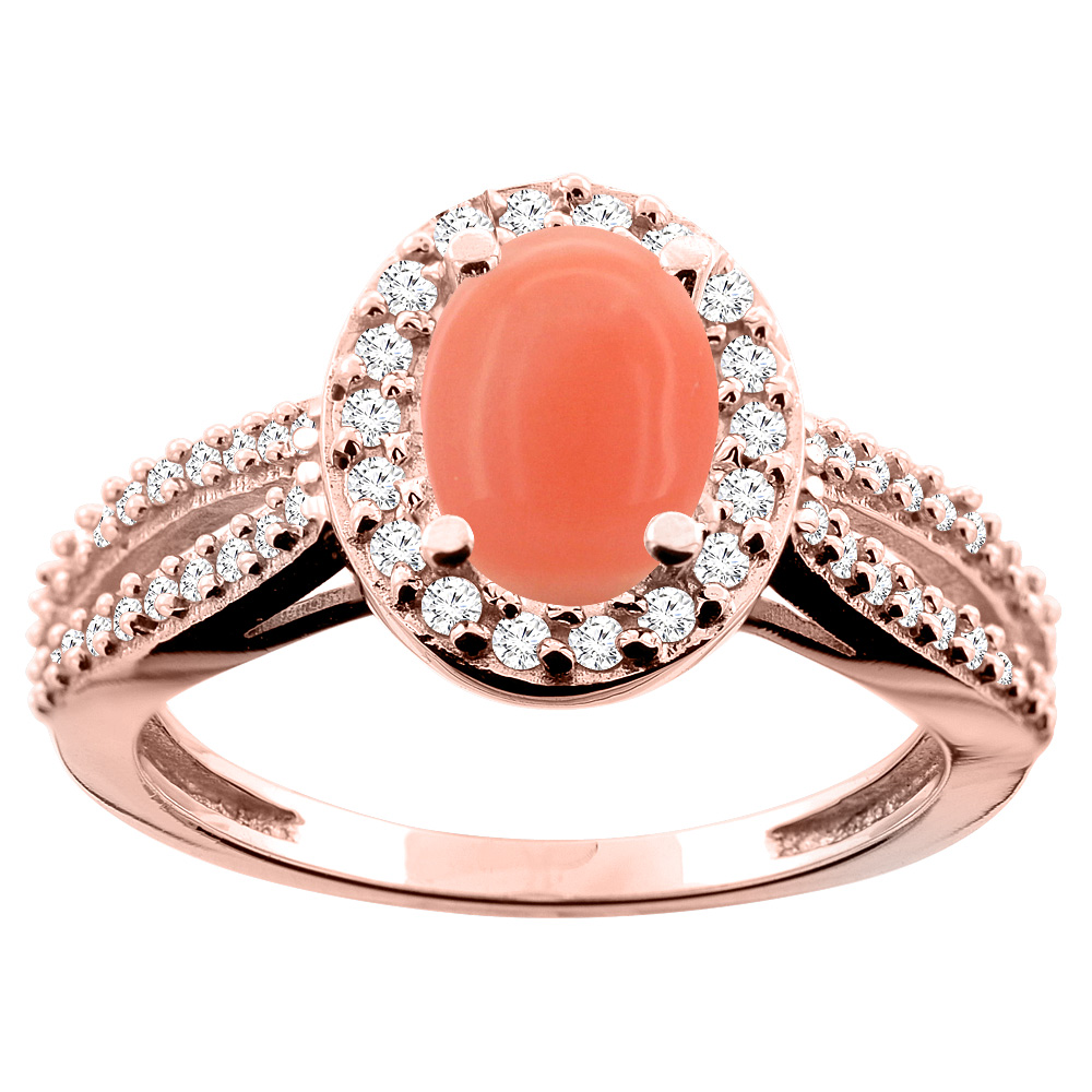 14K White/Yellow/Rose Gold Natural Coral Ring Oval 8x6mm Diamond Accent, size 5