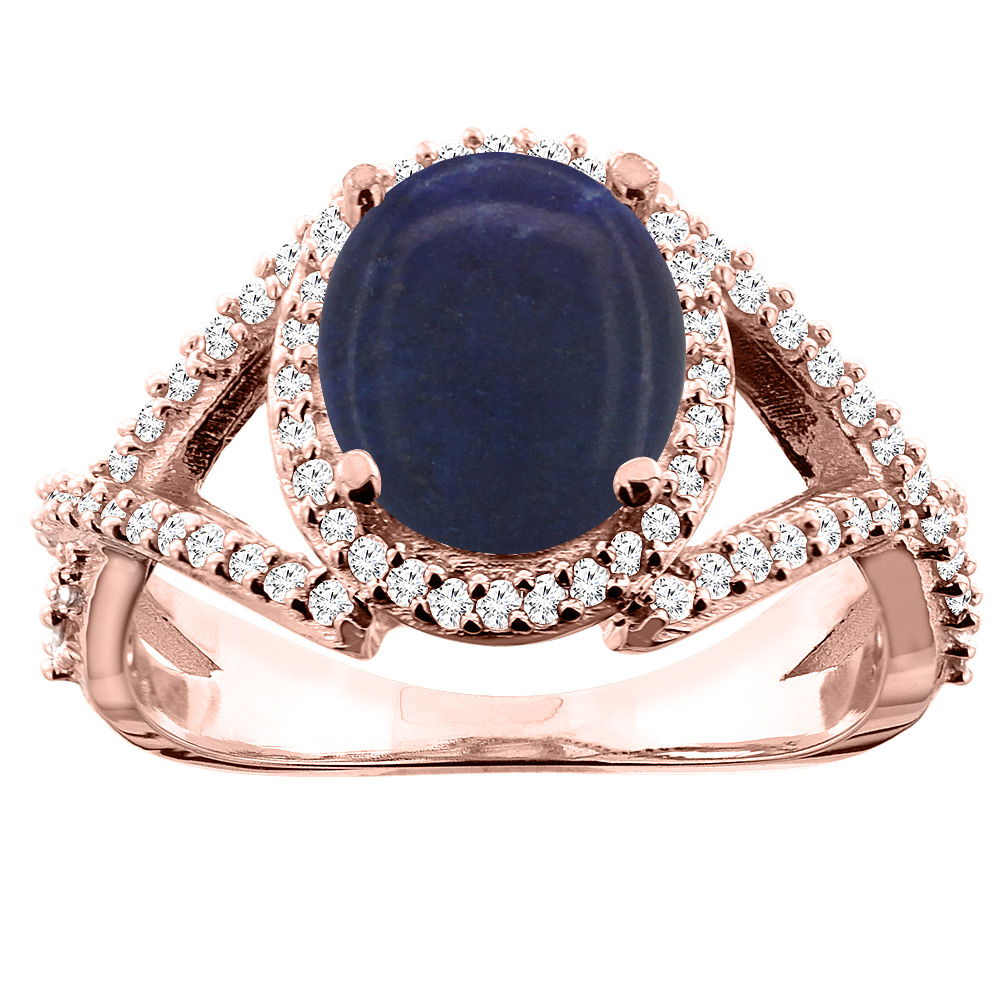 10K White/Yellow/Rose Gold Natural Lapis Ring Oval 9x7mm Diamond Accent, size 5