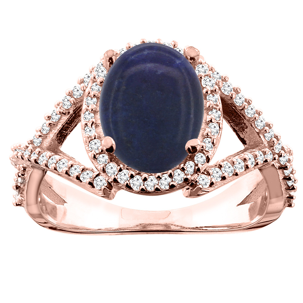 14K White/Yellow/Rose Gold Natural Lapis Ring Oval 10x8mm Diamond Accent, sizes 5 - 10