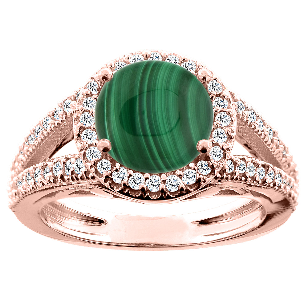 10K White/Yellow/Rose Gold Natural Malachite Ring Round 8mm Diamond Accent, sizes 5 - 10