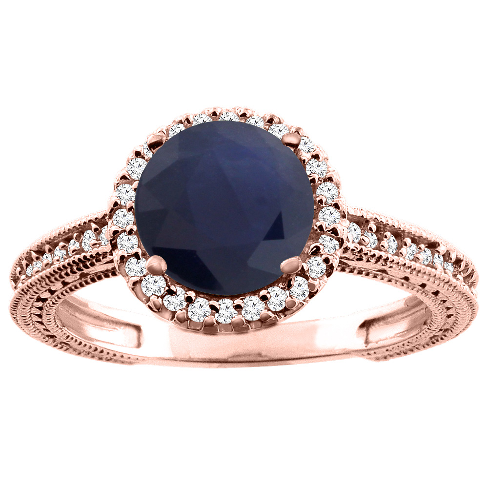 10K White/Yellow/Rose Gold Natural HQ Blue Sapphire Ring Round 7mm Diamond Accent, sizes 5 - 10