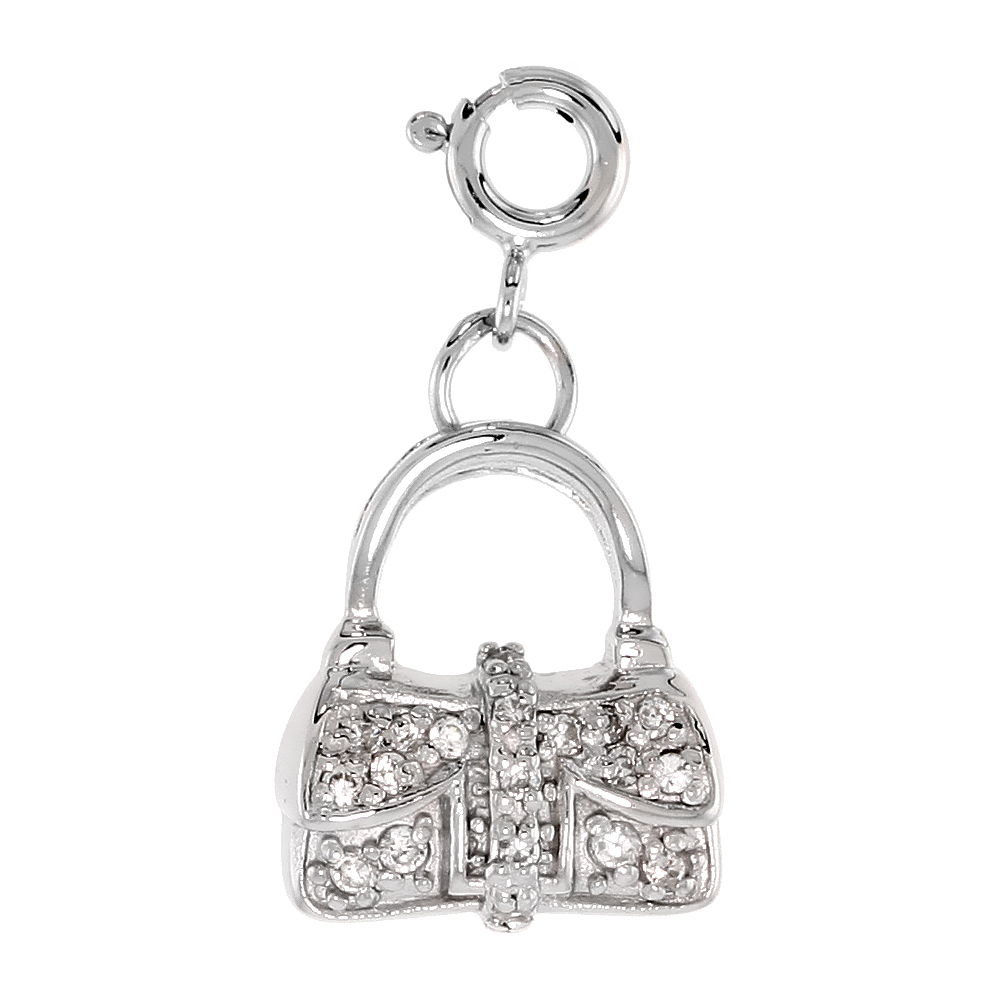 Sterling Silver Cubic Zirconia Purse Dangling Charm with Spring Clasp, 9/16 inch wide