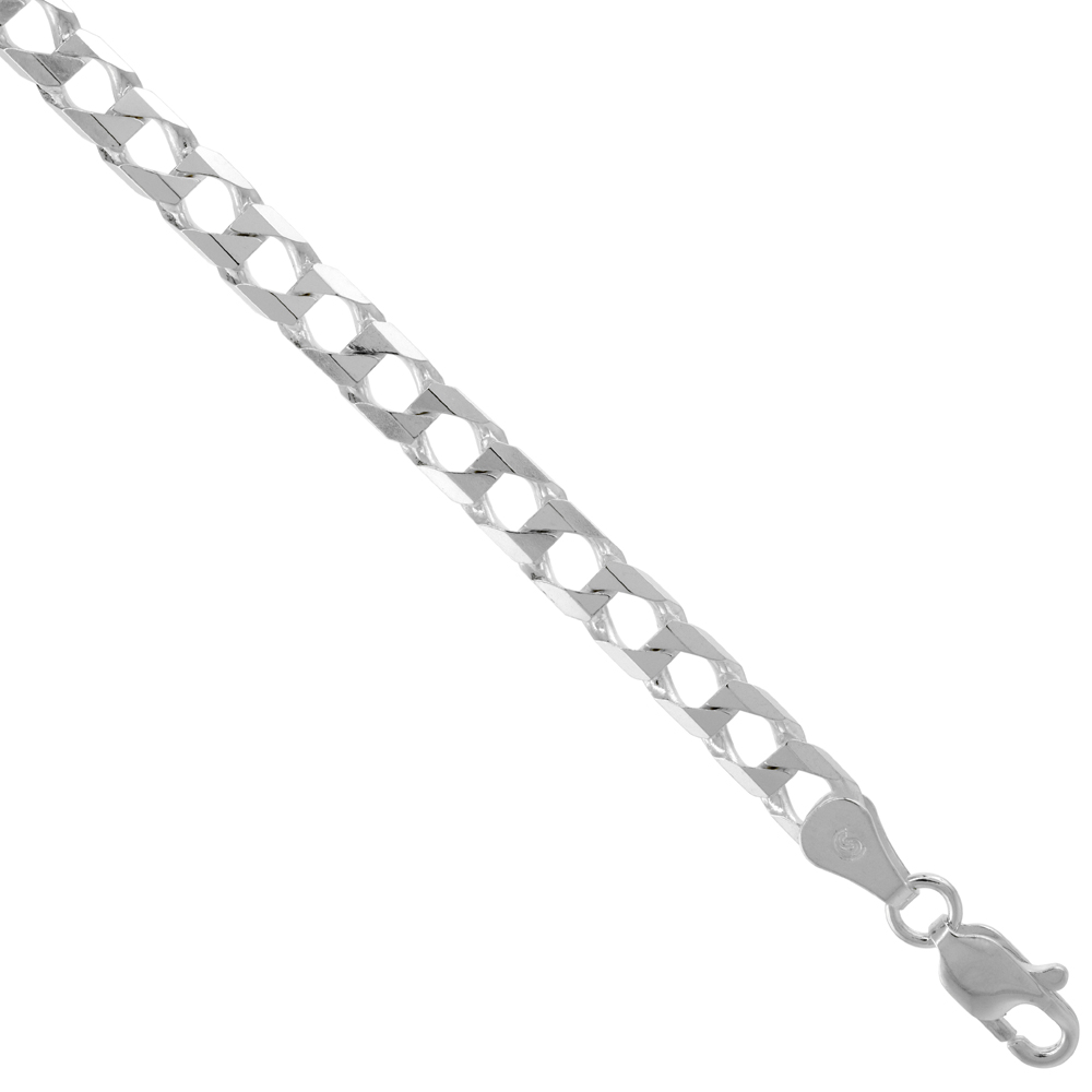Sterling Silver Square Cuban Link Chain Necklaces & Bracelets 5mm Nickel Free Italy, 7-30 inch