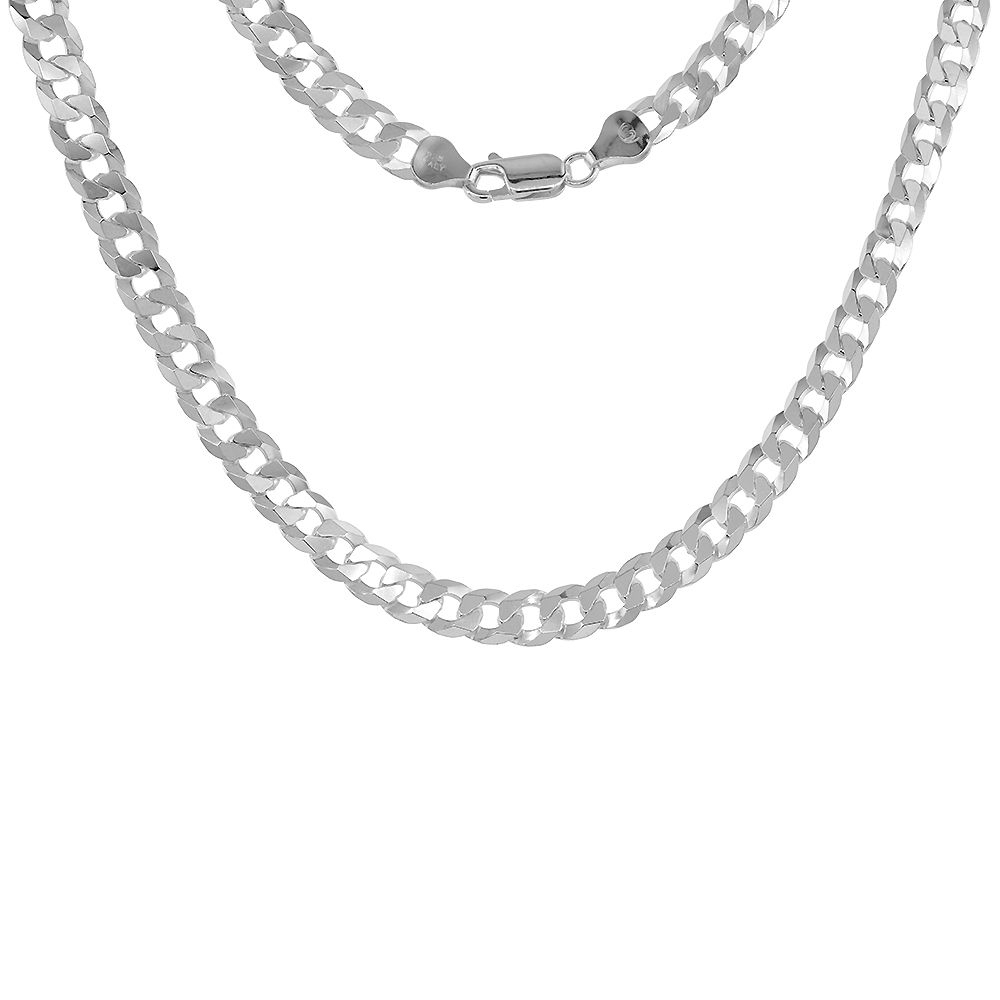 Sizes 8-28 inch 11mm Sterling Silver Flat Curb Chain Necklaces /& Bracelets for Men Beveled Edges Nickel Free Italy