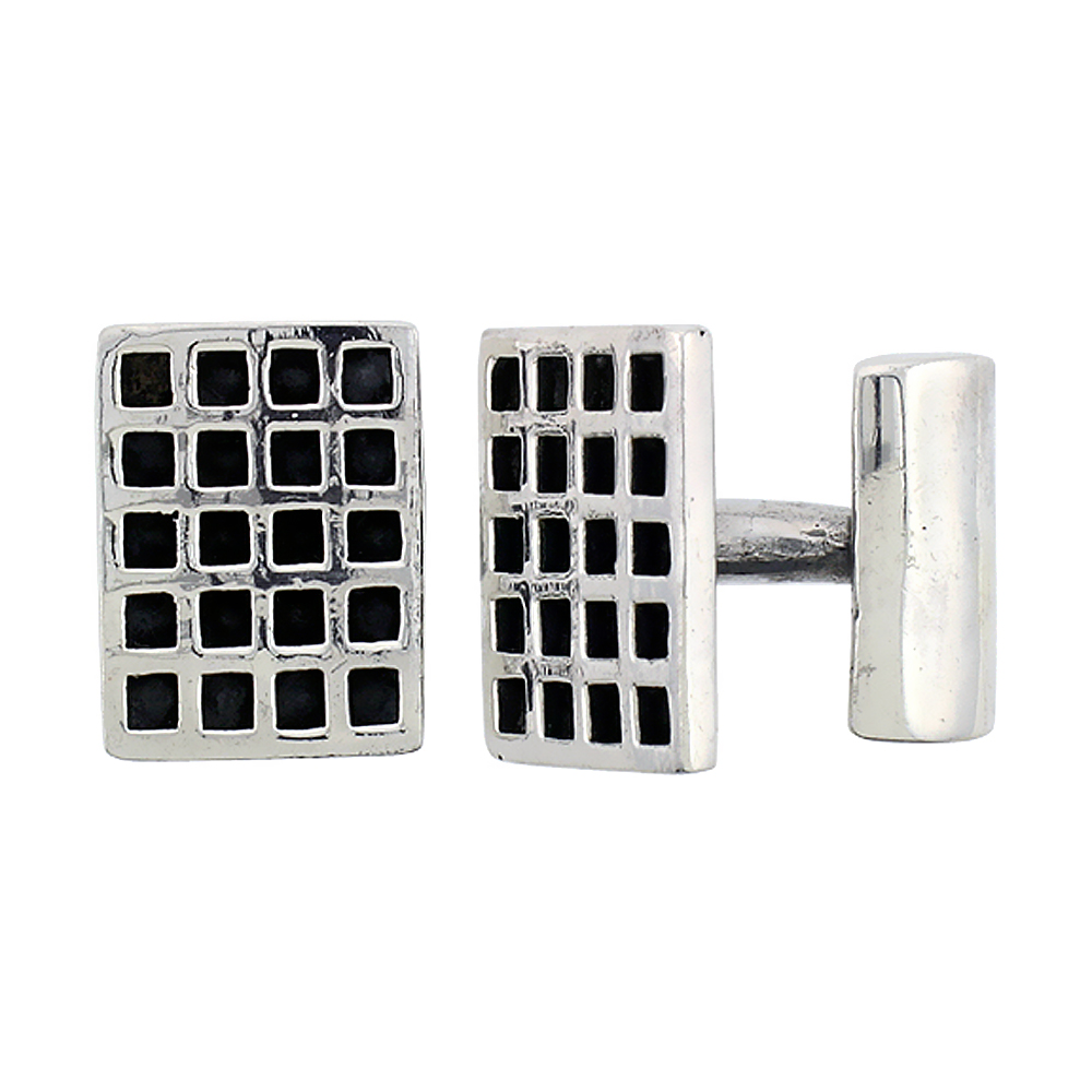 Sterling Silver Waffle Grid Cufflinks Rectangular, 9/16 inch wide