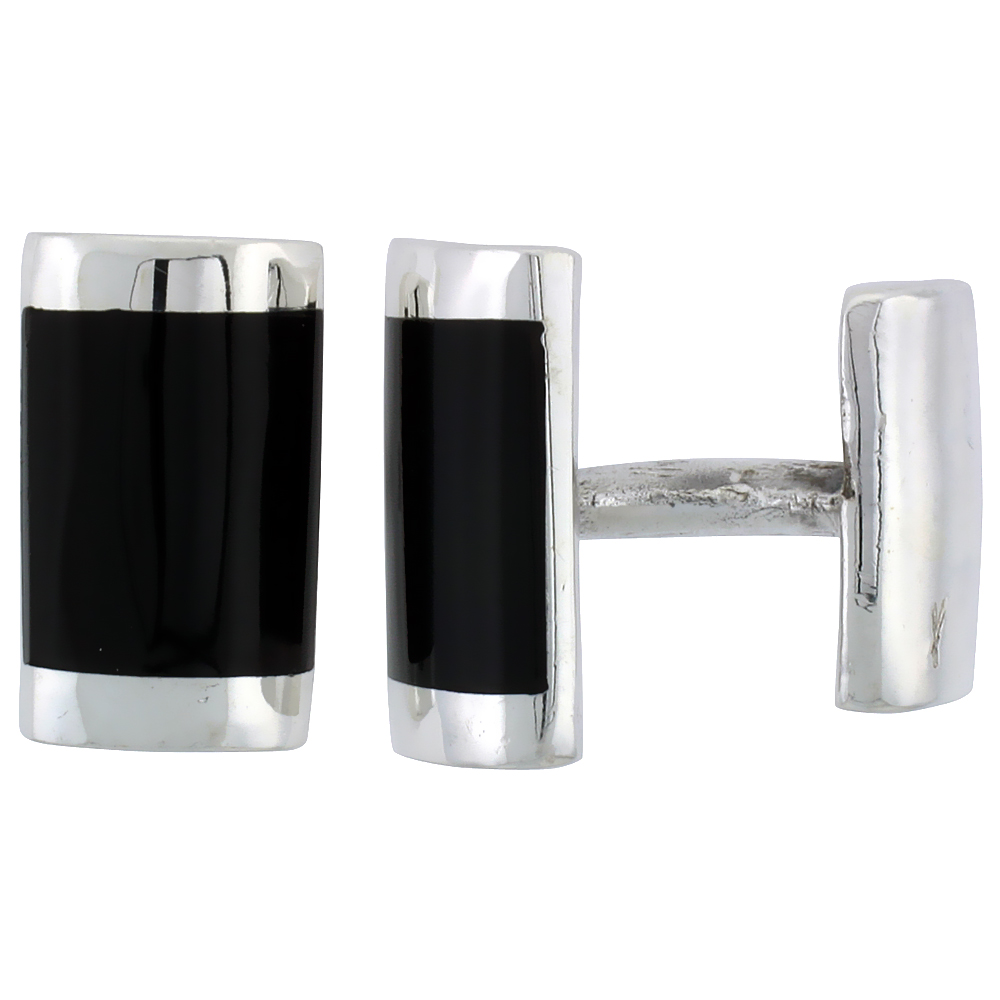 Sterling Silver Black Rectangular Cufflinks, 7/16 inch wide