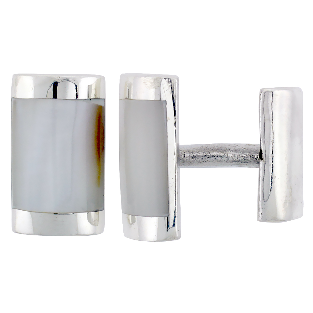 Sterling Silver White Rectangular Cufflinks, 7/16 inch wide