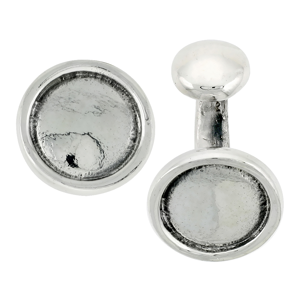 Sterling Silver Round Cufflinks Raised Edges, 5/8 inch wide