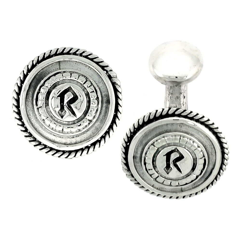 Sterling Silver Initial R Round Cufflinks, 11/16 inch wide